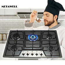 29 9  Built in 5 Burner Gas Hob Black Titanium Steel NG LPG Stove Cooktops