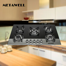 METAWELL 35 5in  Coated Glass 5 Burners Built In Stove LPG NG Gas Cooktop Cooker