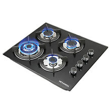 US   Black 24  Built in 4 Burners Gas Cooktop NG LPG Hob Tempered Glass Cooktops