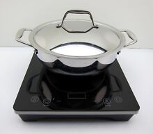 New Tramontina 3 Piece Portable Induction Cooking System Cooktop Covered Pan 4QT