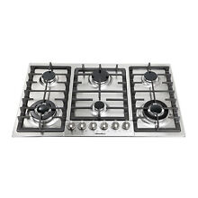 34  Kitchen Cooktop Stove 6 Burners Built In NG Cooktops Stainless Steel Cooker