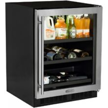 Marvel 5 5 Cu  Ft  24  Stainless Steel Glass Door Beverage Center
