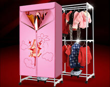 Pink Mute Home Portable Energy saving Rotary Control Electric Air Clothes Dryer