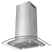 30  Island Mount Stainless Steel Range Hood 3 Speed Push Control Panel