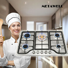 METAWELL 30 inch 5 Burner Stainless Steel Gas Cooktop Hob With Cast Iron Trivets