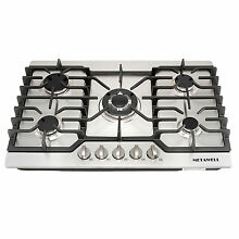 US 30  Stainless Steel Gas Hob 5 Burners Built in Cooktop NG LPG  Kitchen Cooker
