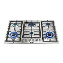 Metawell 34in GAS Silver Stainless Steel Cooktop Stove 6 Burner Cook Top Kitchen
