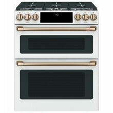 Cafe 30  Matte White Slide In Double Oven Gas Range with Convection