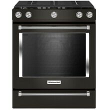 KitchenAid 30  Black Stainless Steel Slide In Gas Range
