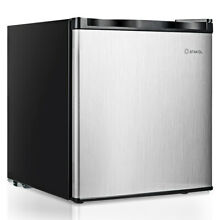 Costway Compact Single Door Upright Freezer   Mini Size With Stainless Steel