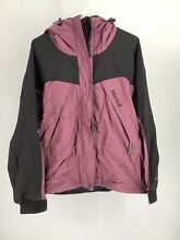 Women s Marmot Black Maroon Gore Tex Jacket Large Hooded Mesh Lining Vented Arms