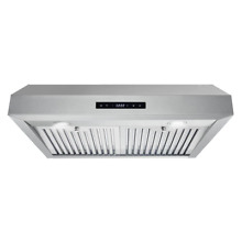 Under Cabinet Range Hood 30 in  Touchscreen Backlit Display LED Stainless Steel