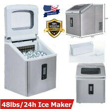 Built in Commercial Ice Maker Stainless Steel Bar Home Ice Cube Machine 48lbs24h