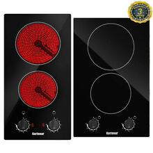 Karinear 2 Burners Ceramic Cooktop 12  Built in Electric Stove Top with Knob