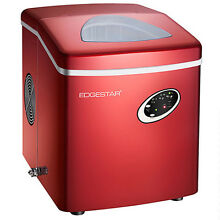 NEW EdgeStar IP210RED Red Countertop Portable Ice Maker Red w  bin 28 lb per day