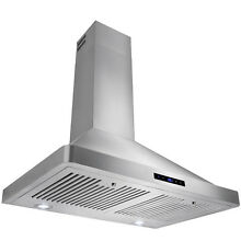 30  Wall Mounted Kitchen Range Hood Stainless Steel Baffle Vent Hood Touch Panel