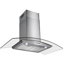 36  Stainless Steel Tempered Glass Wall Mount Push Button Range Hood Cooking Fan