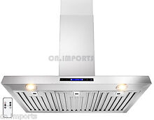 Stainless Steel 36  Kitchen Wall Mount Range Hood Powerful Vent w  Remote