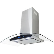 36  Wall Mount Tempered Glass Stainless Steel Kichen Range Hood Grease Filte