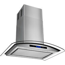 30  Euro Style Stainless Steel Island Mount Range Hood Kitchen Low Noise