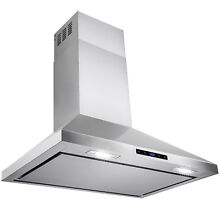 36  Stainless Steel Wall Mount Range Hood Touch Screen Display Vents