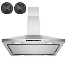 36  Stainless Steel Island Mount Range Hood Touch Panel W  Carbon Filter