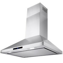 30  Kitchen Stainless Steel Wall Mount Range Hood Touch Screen Display