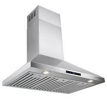 36  Stainless Steel Kitchen Wall Mount Range Hood with Touch Screen Display