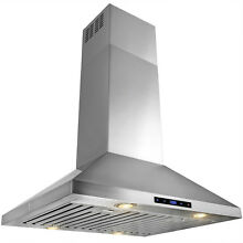 30  Stainless Steel Island Mount Range Hood Touch Screen w  Baffle Filters