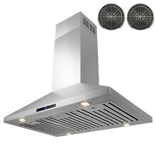 36  Island Mount Stainless Steel Range Hood Touch Screen Display Ductless
