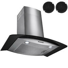 30  Stainless Steel Wall Mount Range Hood Tempered Glass w  Carbon Filters