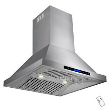 30  Wall Mount Stainless Steel Range Hood Kitchen Vent Touch   Remote Control