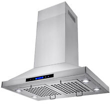 30  Stainless Steel Island Mount Range Hood Touch Screen Display Light