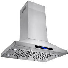 30  Stainless Steel Island Mount Range Hood with Touch Screen Display LED