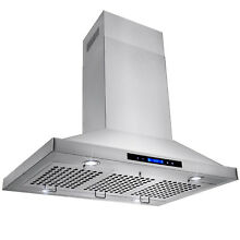 36  Stainless Steel Island Mount Range Hood with Touch Screen Display LED