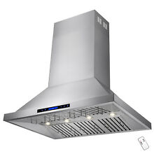 48  Dual Motor Stainless Steel Island Mount Range Hood w  Touch Screen Control