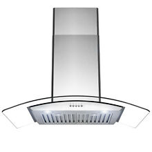 36  Wall Mount Stainless Steel Push Panel Kitchen Range Hood Cooking Fan
