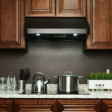 30  Under Cabinet Black Stainless Steel Push Panel Kitchen Range Hood Cook Fan
