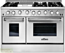 THOR KITCHEN GAS RANGE 48  Free Standing 6 Burner Griddle 2 Ovens Broil Bake New