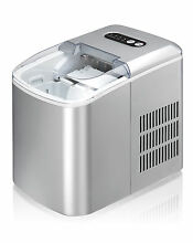 PORTABLE ICE MAKER SILVER COMPACT EASY ONE TOUCH CONTROL ICEMAKER