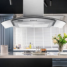 30  Stainless Steel Wall Mount Range Hood Stove Vent Fan LED 400CFM 193W