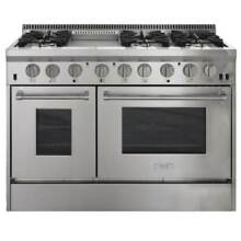 AGA APRO48AG Professional Series 48 Inch Wide 6 7 Cu  Ft  Slide In Gas Range wit