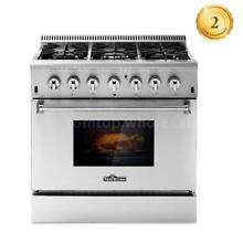 THOR KITCHEN 36  6 Burner Dual Fuel Stainless Steel Gas Range Electric Oven B7A5
