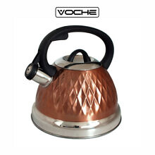 VOCHE  COPPER 3L STAINLESS STEEL WHISTLING KETTLE GAS ELECTRIC INDUCTION HOBS