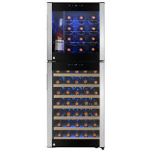 58 Bottle Touch Panel Dual Zone Wire Shelves Freestanding Compressor Wine Cooler
