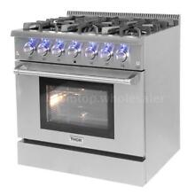 THOR KITCHEN 36  6 Burner Free Standing Stainless Steel Gas Range Pro US N0D1