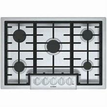 Bosch 30 Inch LED Lights Stainless Gas Cooktop 5 Sealed Burners NGM8056UC