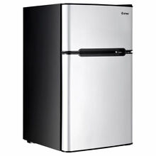 Stainless Steel Refrigerator Small Freezer Cooler Fridge Compact 3 2 cu ft  Unit
