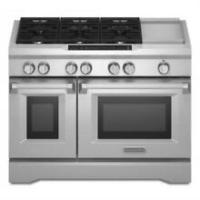 Kitchenaid 6 3 Cu  Ft True Convection Dual Fuel Stainless Range KDRS483VSS
