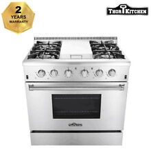 Thor Kitchen 36 Gas Range Cooker Oven Stainless Steel 4 Burner Cooktop HRG3617U